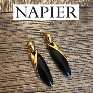 Vintage NAPIER Black Gold Earrings Door Knocker